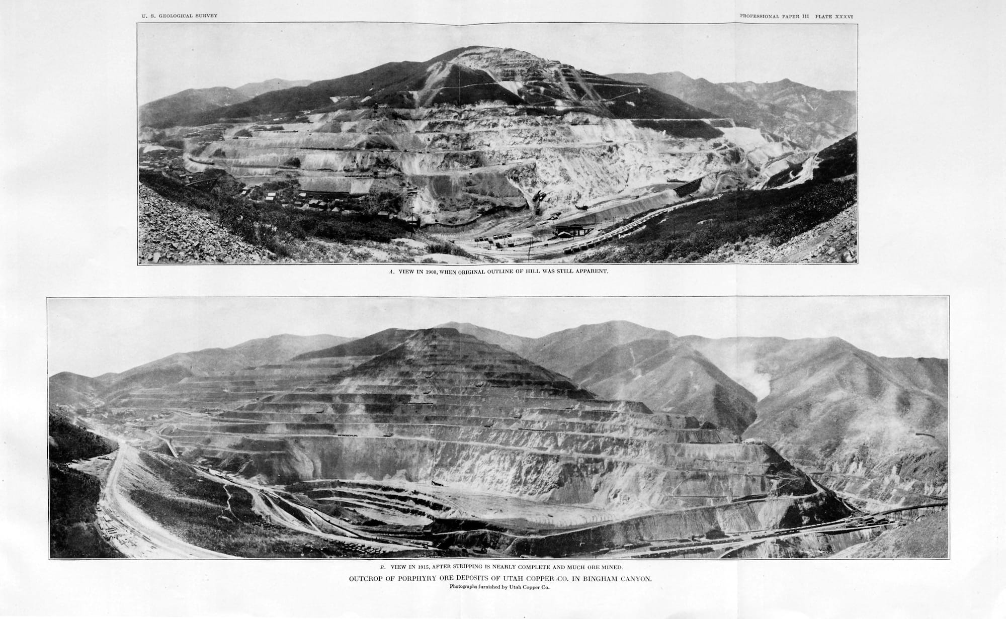 "Utah Copper Company's porphyry ore deposits in Bingham Canyon. Top: view in 1908, when original outline of hill was still apparent, and (below) in 1915, after stripping was nearly complete. Plate XXXVI from Department of the Interior/US Geological Survey report ""The Ore Deposits of Utah,"" 1920. © Department of the Interior/US Geological Survey"