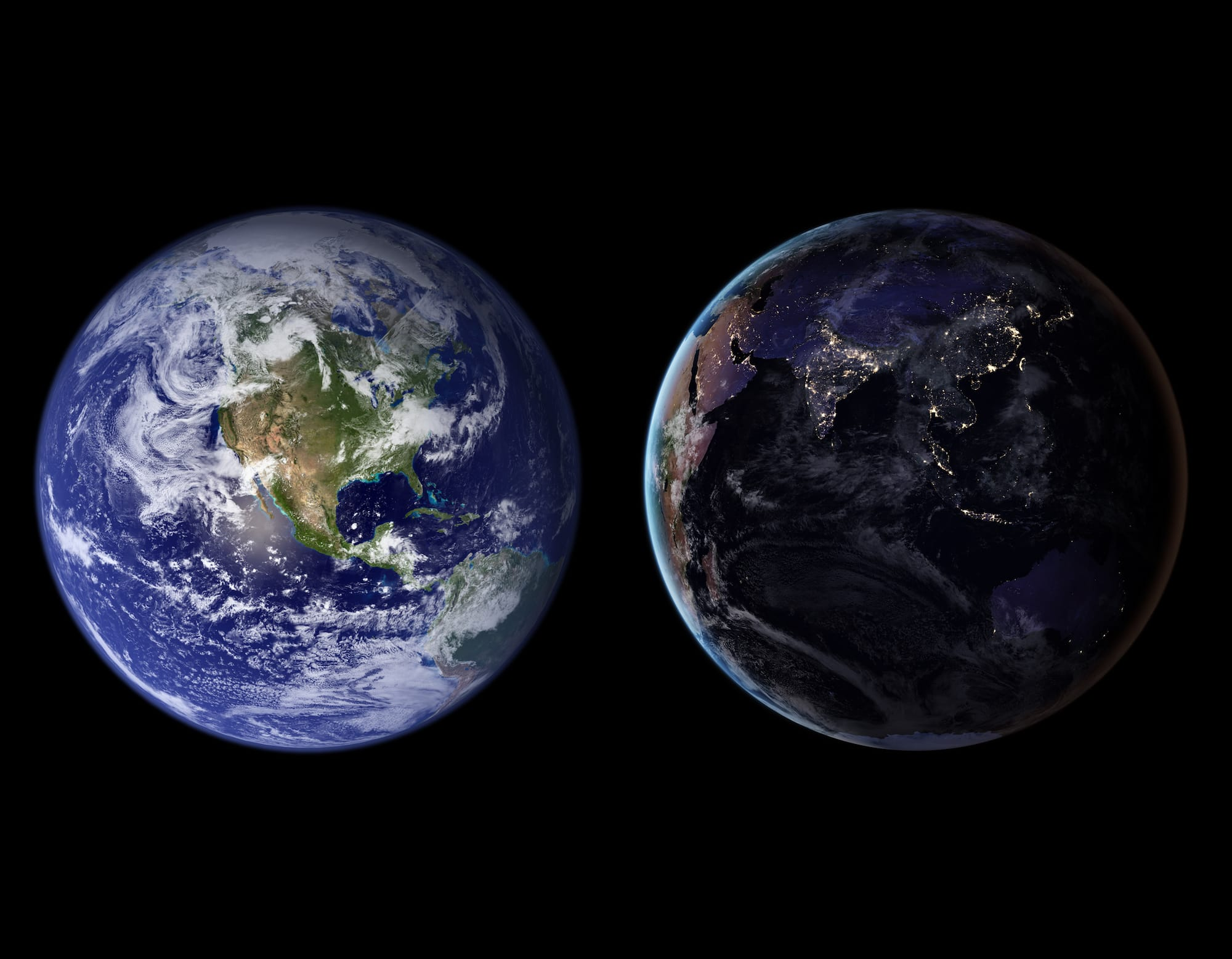 Blue Marble, 2002; Black Marble, 2016. © Courtesy Godard Space Flight Center