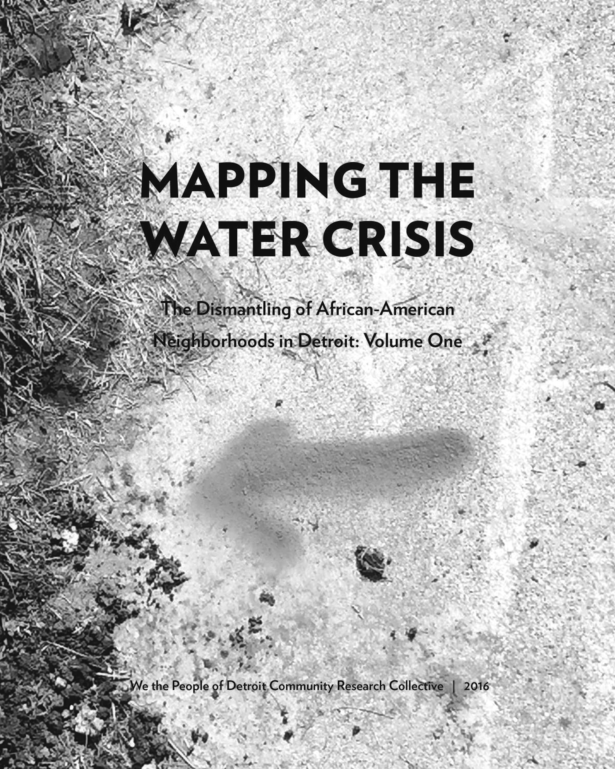 We the People of Detroit Community Research Collective, _Mapping the Water Crisis: The Dismantling of African-American Neighborhoods in Detroit: Volume One_, front cover, http://wethepeopleofdetroit.com/communityresearch/water/, 2016. © We the People of Detroit Community Research Collective