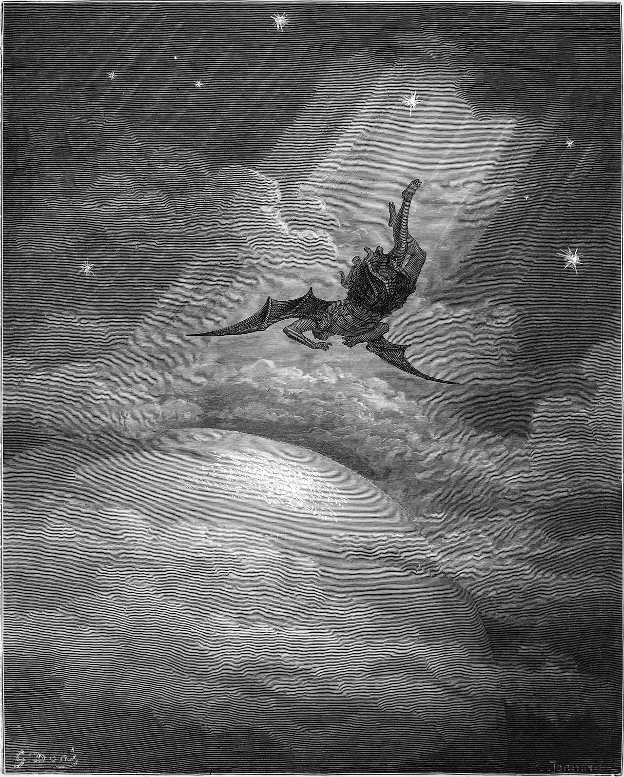 Plate 12 of Gustave Doré's 1866 engravings for Milton's Paradise Lost showing the angel Lucifer being cast down from heaven. Wikipedia commons