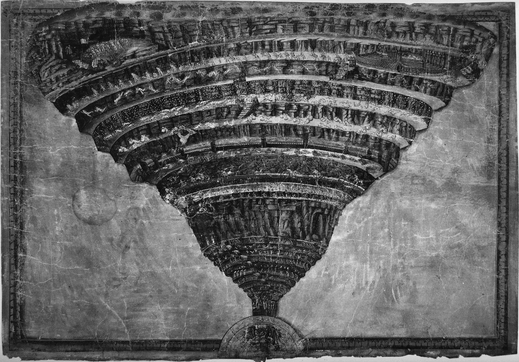 Sandro Botticelli, _Map of Hell._ Pen and brush on vellum (32 × 47 cm), c. 1485. Courtesy Vatican Library, Rome. Creative Commons