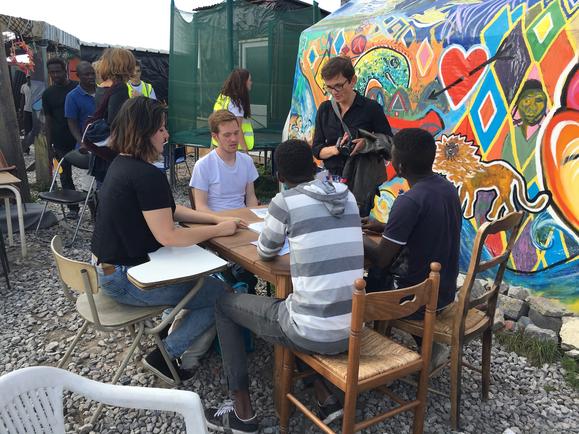 Students designing for Sangatte Refugee Camp, July 2016. © Dr Harriet Harriss